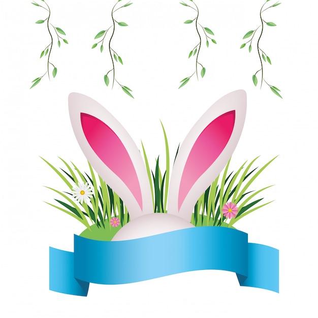 Leuke konijnenoren cartoon Premium Vector