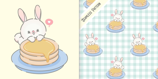 Leuke konijntje en pancakesillustratie met naadloos patroon Premium Vector