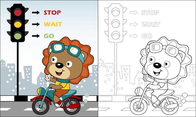 Leuke leeuw cartoon paardrijden motorfiets in de weg Premium Vector