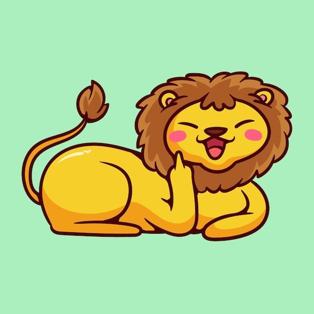 Leuke leeuw die het fuck you-symbool toont Gratis Vector