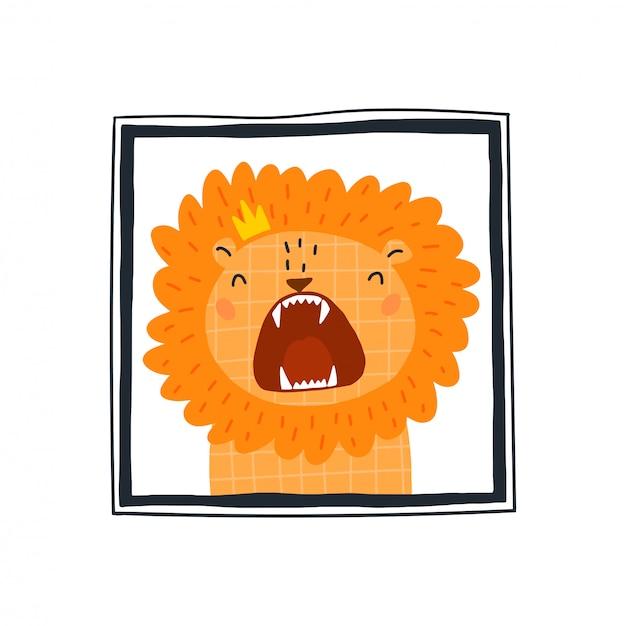 Leuke leeuw in het frame Premium Vector
