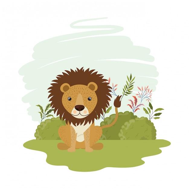 Leuke leeuw met landschap Premium Vector