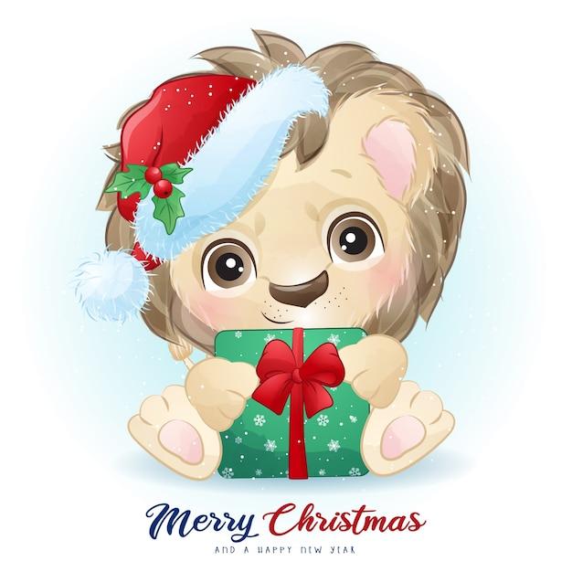 Leuke leeuw voor eerste kerstdag met aquarel illustratie Premium Vector