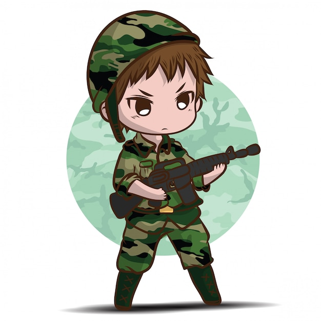 Leuke leger soldaat jongen cartoon. Premium Vector