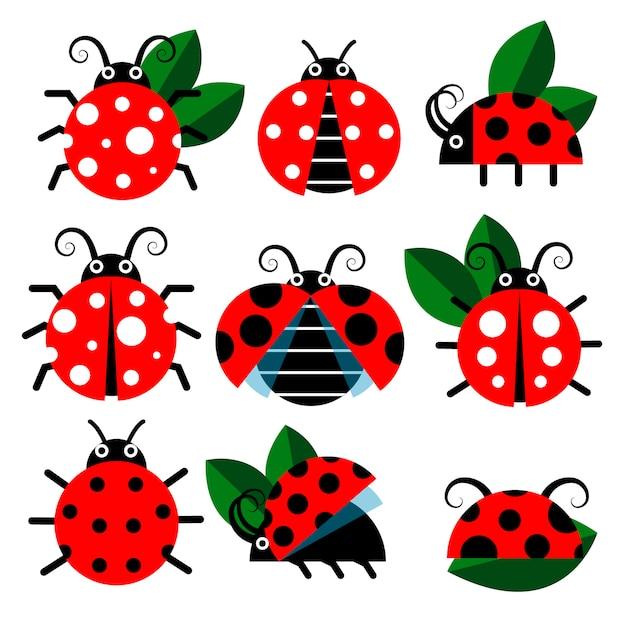 Leuke lieveheersbeestje pictogrammen. bugs en bladeren in cartoon-stijl Premium Vector