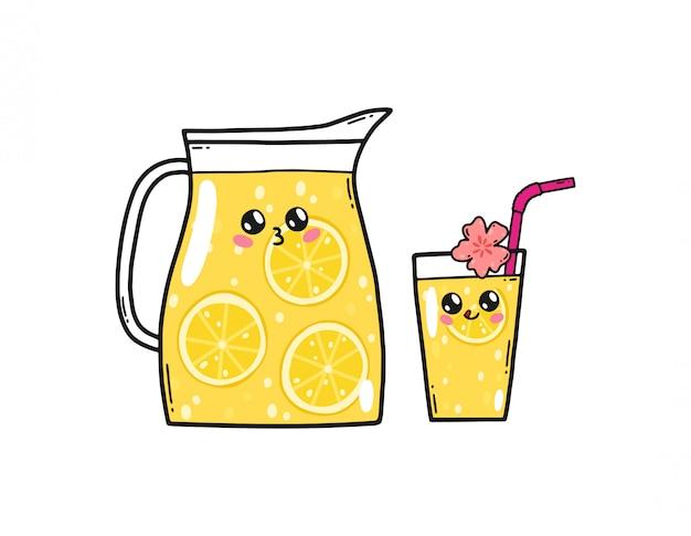 Leuke limonade die in de kawaiistijl van japan wordt geplaatst. de gelukkige karakters van het citroenbeeldverhaal met grappige geïsoleerde gezichten Premium Vector