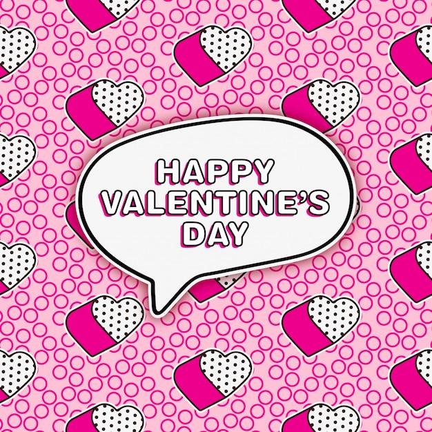 Leuke lol de groet van de popstijl voor de dag van de valentijnskaart Premium Vector