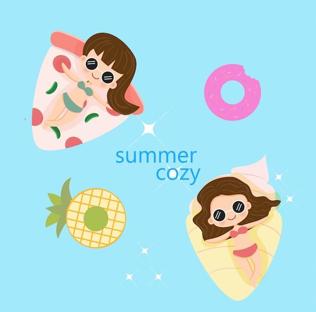 Leuke meid gelukkig zomervakantie Premium Vector