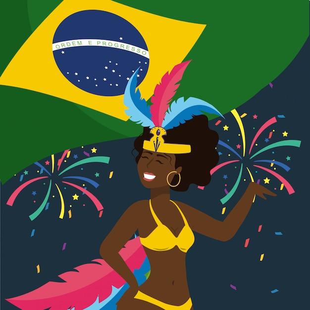 Leuke meisjesdanser met vuurwerk en de vlag van brazilië Premium Vector
