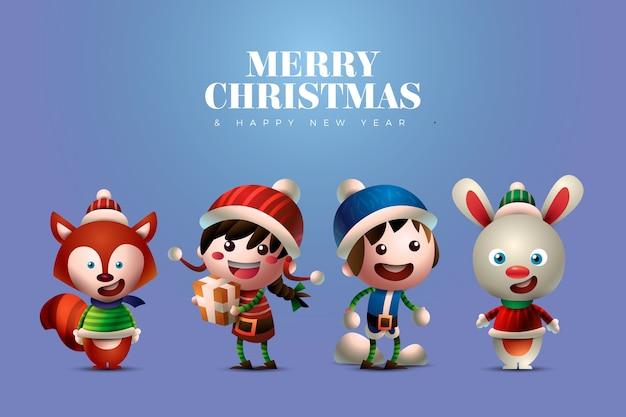 Leuke mensen en dieren kerst tekens Gratis Vector