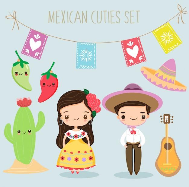 Leuke mexicaanse jongen en meisje met elementen instellen Premium Vector
