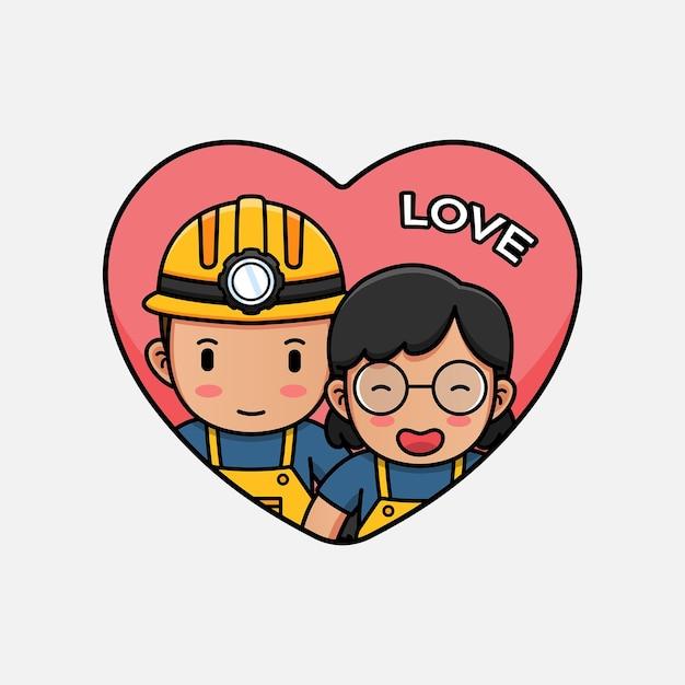 Leuke mijnwerker op valentijnsdag Premium Vector