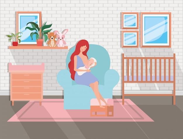 Leuke moeder met pasgeboren baby in woonkamer Gratis Vector