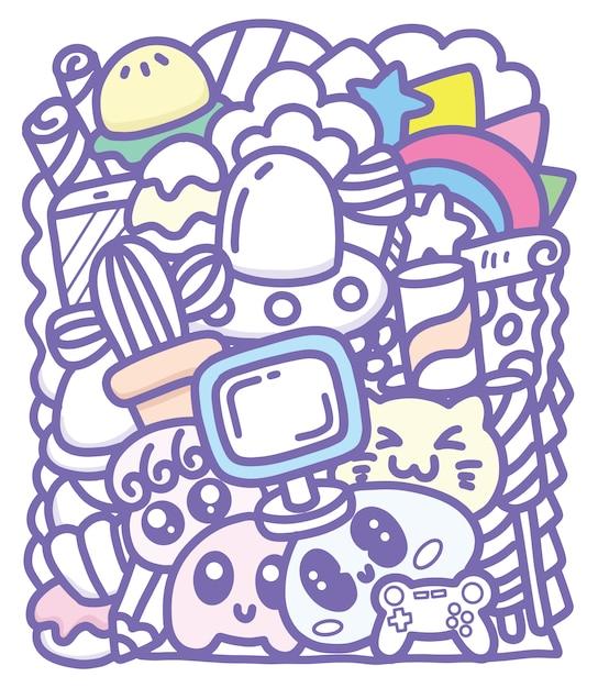 Leuke monster groep doodle kunst Premium Vector