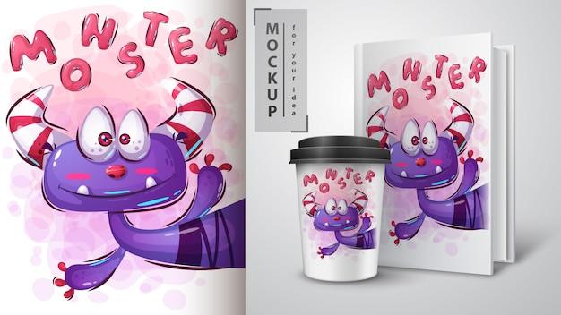 Leuke monsterposter en merchandising Premium Vector