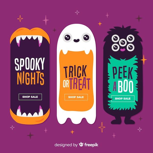 Leuke monsters halloween platte banners Premium Vector