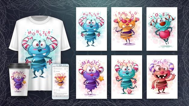 Leuke monsters poster en merchandising Premium Vector