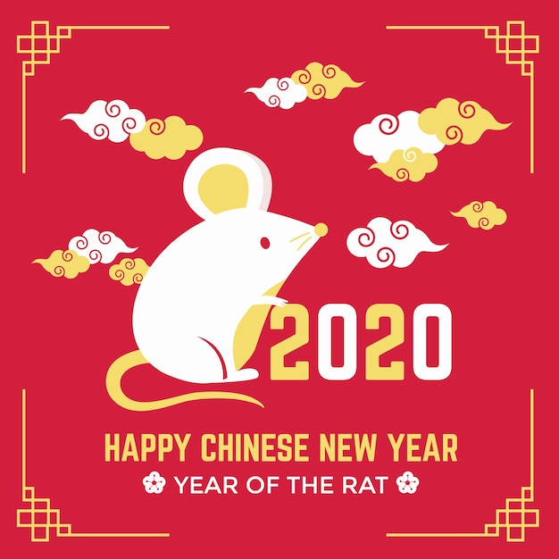 Leuke muis en wolken gelukkig chinees nieuw jaar Gratis Vector