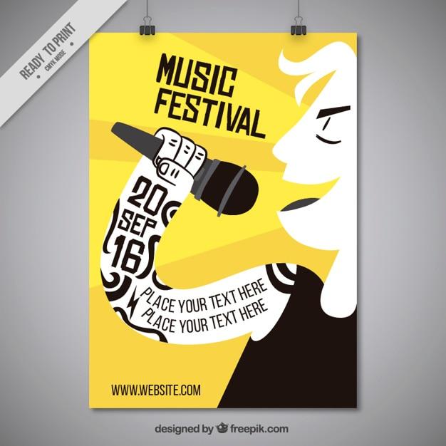leuke muziek festival poster met singer vector | gratis download