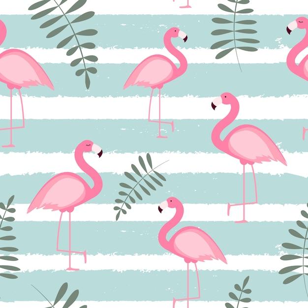 Leuke naadloze flamingo patroon illustratie Premium Vector