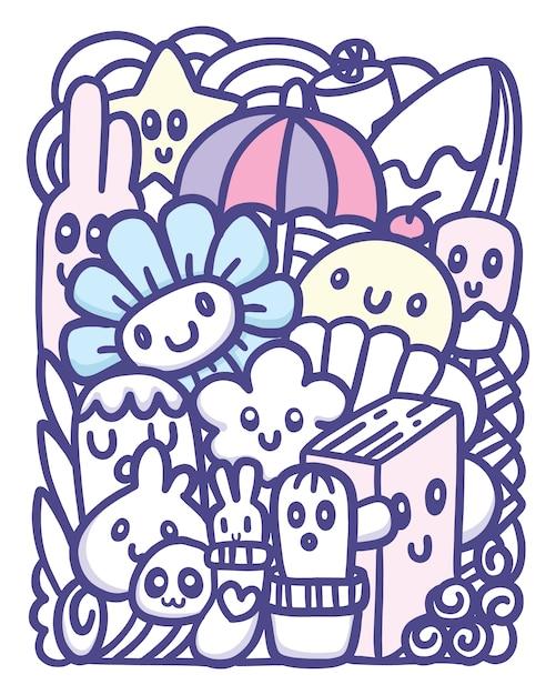Leuke objecten hand getrokken doodle kunst Premium Vector