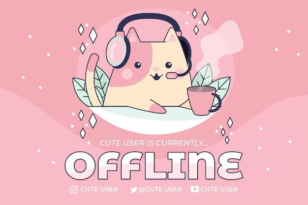 Leuke offline twitch-banner met kat Gratis Vector