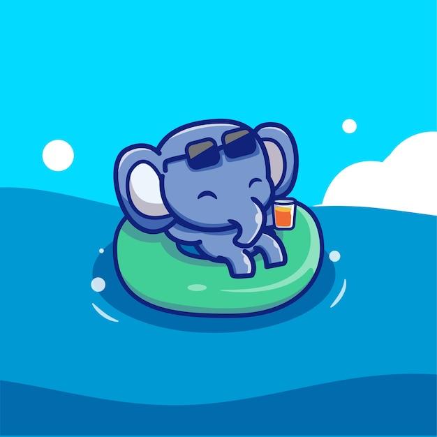 Leuke olifant drijvend met zwemmende banden Gratis Vector