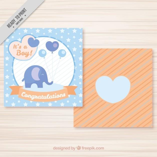Leuke olifant met ballonnen kaart Gratis Vector