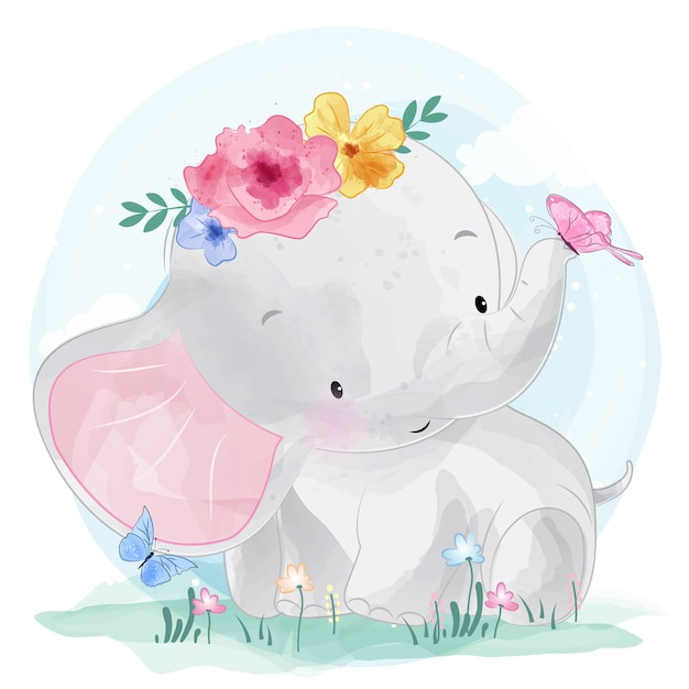 Leuke olifant met bloem Premium Vector