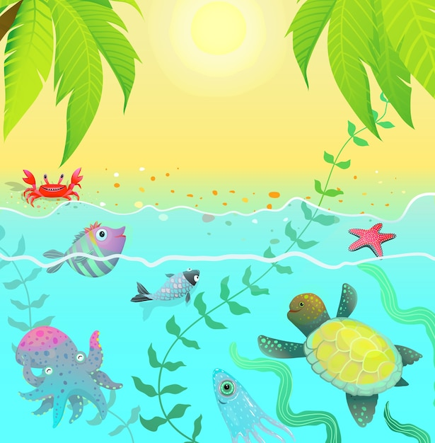 Leuke onderwaterdierensamenstelling met zon en strandpalmen Premium Vector