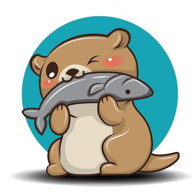 Leuke otter cartoon., animal cartoon concept. Premium Vector
