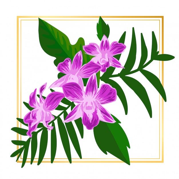 Leuke paarse bloemen bloem vintage blad natuur Premium Vector
