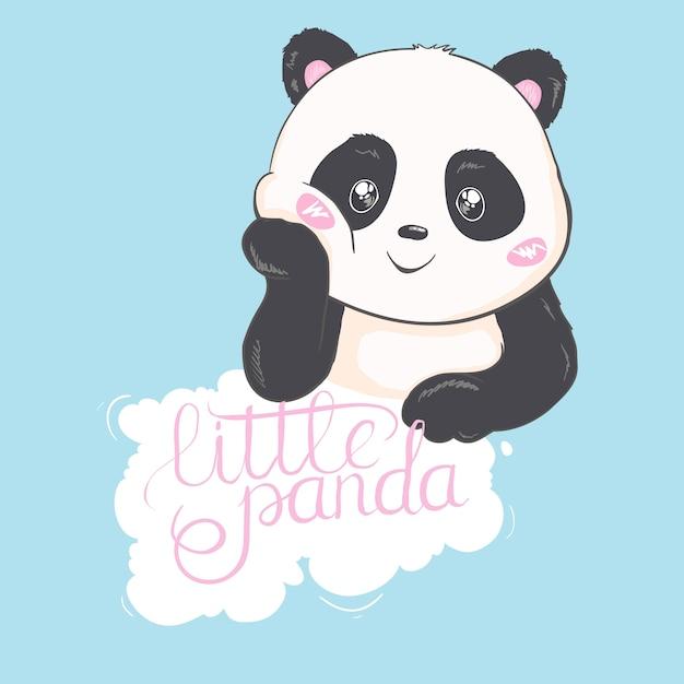 Leuke panda bear-illustratie. dierlijke vector. panda met bloemen. Premium Vector