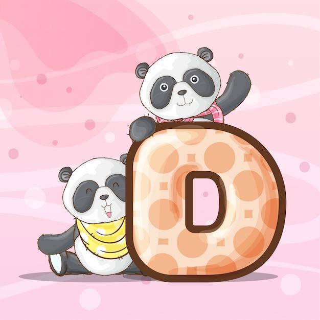 Leuke panda dierlijke brief alfabet-vector Premium Vector