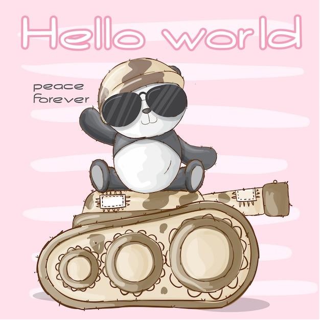 Leuke panda dierlijke militair-vector Premium Vector