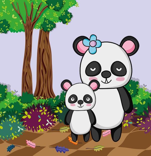 Leuke panda draagt Premium Vector