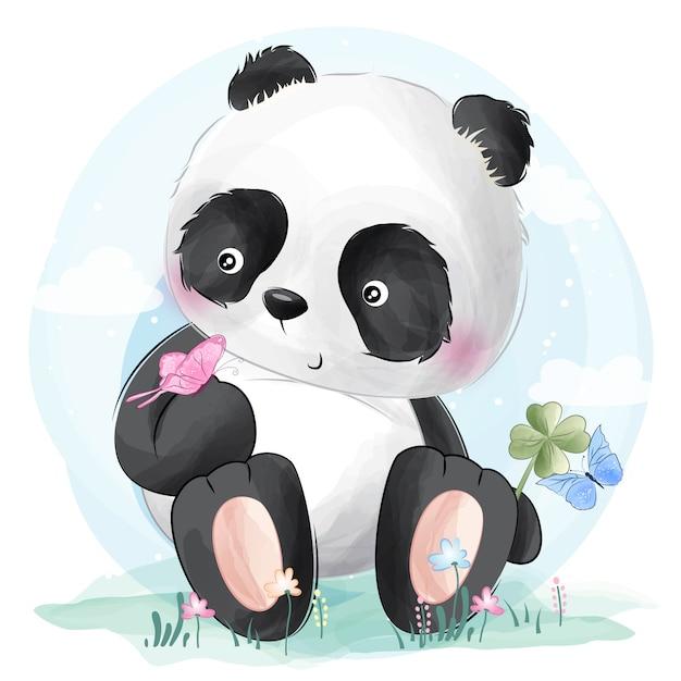 Leuke panda en vlinders Premium Vector
