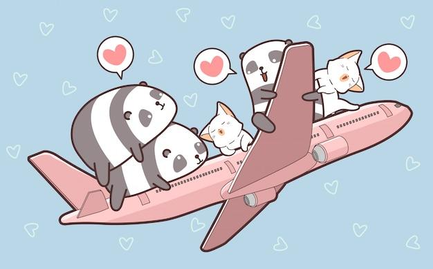 Leuke panda's en katten en in het vliegtuig Premium Vector