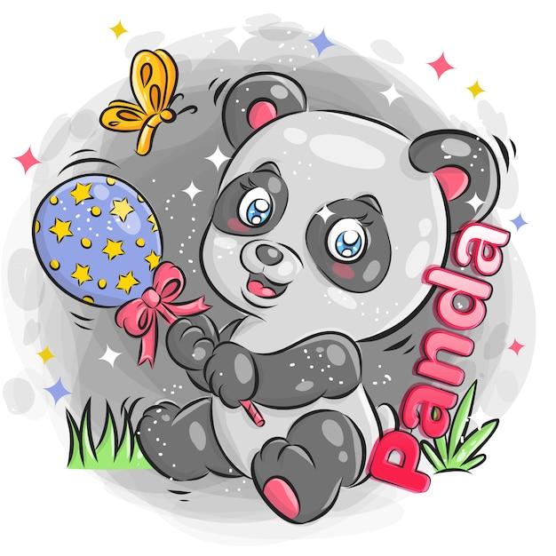 Leuke panda spelen speelgoed met vrolijke expressie. kleurrijke cartoon afbeelding. Premium Vector