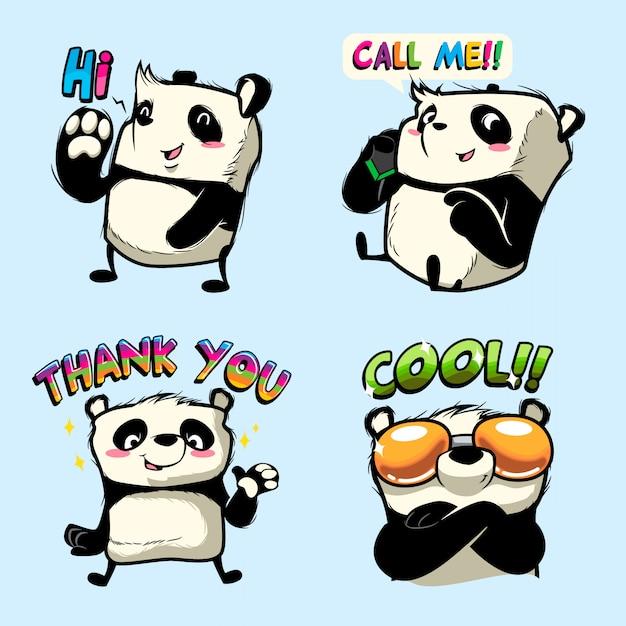 Leuke panda sticker, panda patches Premium Vector