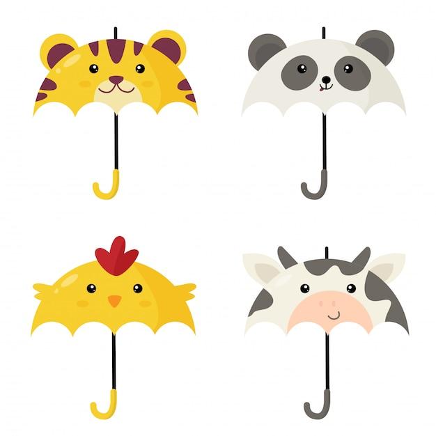 Leuke paraplu's in vorm van dier Premium Vector