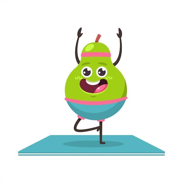 Leuke peer in yoga pose. grappig vector cartoon fruit karakter geïsoleerd. gezond eten en fitness. Premium Vector