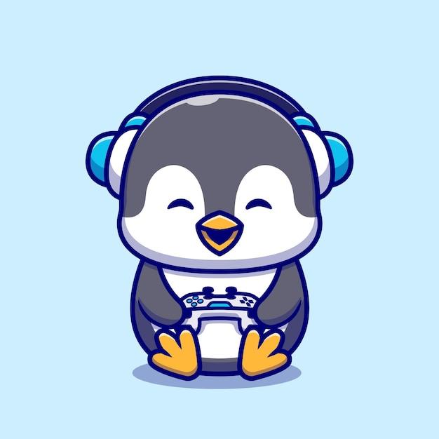 Leuke penguin gaming cartoon afbeelding. Gratis Vector