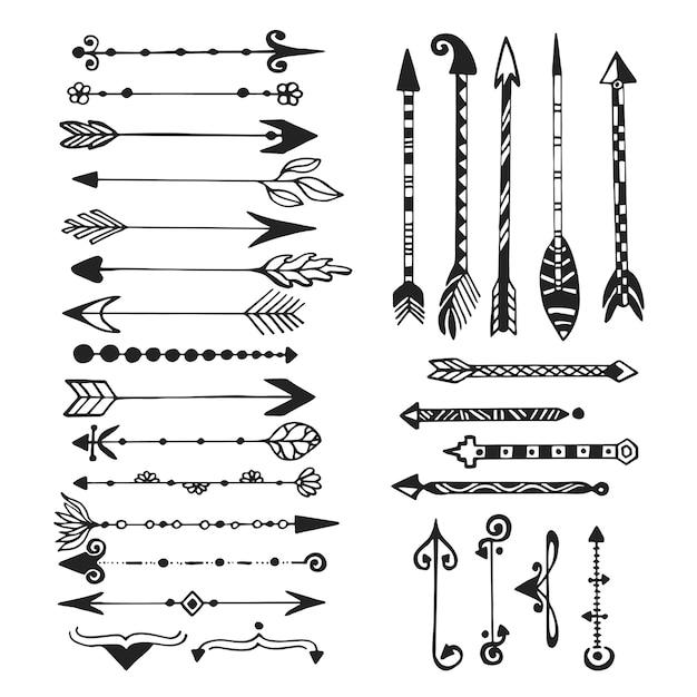 Leuke pijlen, hand getrokken doodles set. tribal, etnische, hipster pijlen schets collectie voor ontwerp Premium Vector
