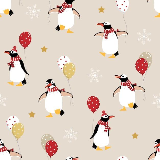 Leuke pinguïn in de winter kostuum en ballonnen naadloze patroon Premium Vector
