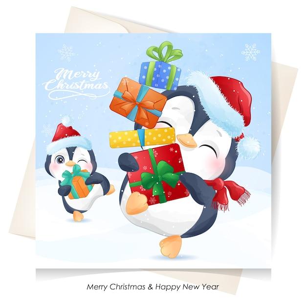 Leuke pinguïn voor kerstmis met waterverfkaart Premium Vector