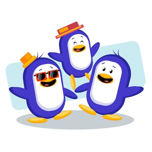Leuke pinguïnvrienden die samen vectorillustratie koelen Premium Vector