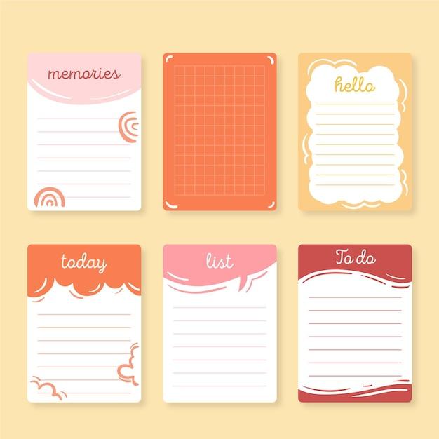 Leuke plakboeknotities en kaartenpakket Gratis Vector