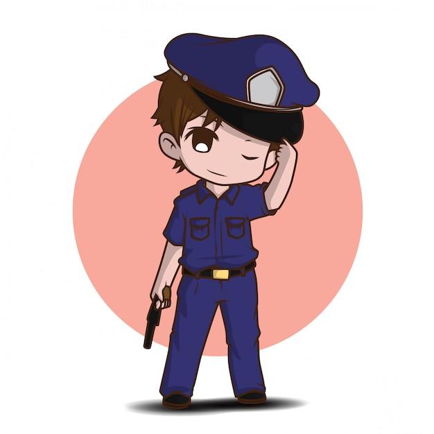 Leuke politiemens die in eenvormige status gelukkig werkt Premium Vector