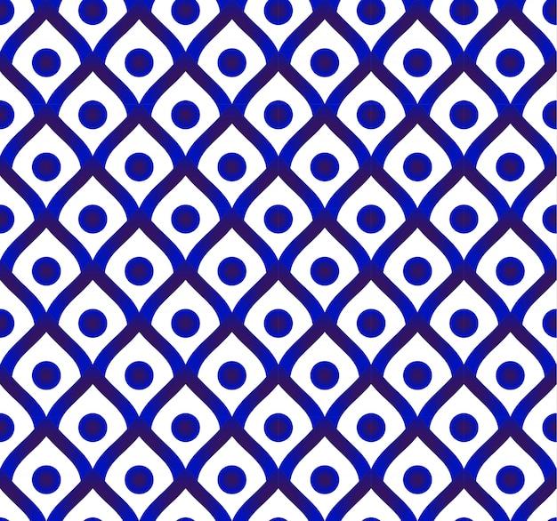 Leuke porseleinachtergrond, ceramisch thais patroon, blauw en wit modern decor Premium Vector